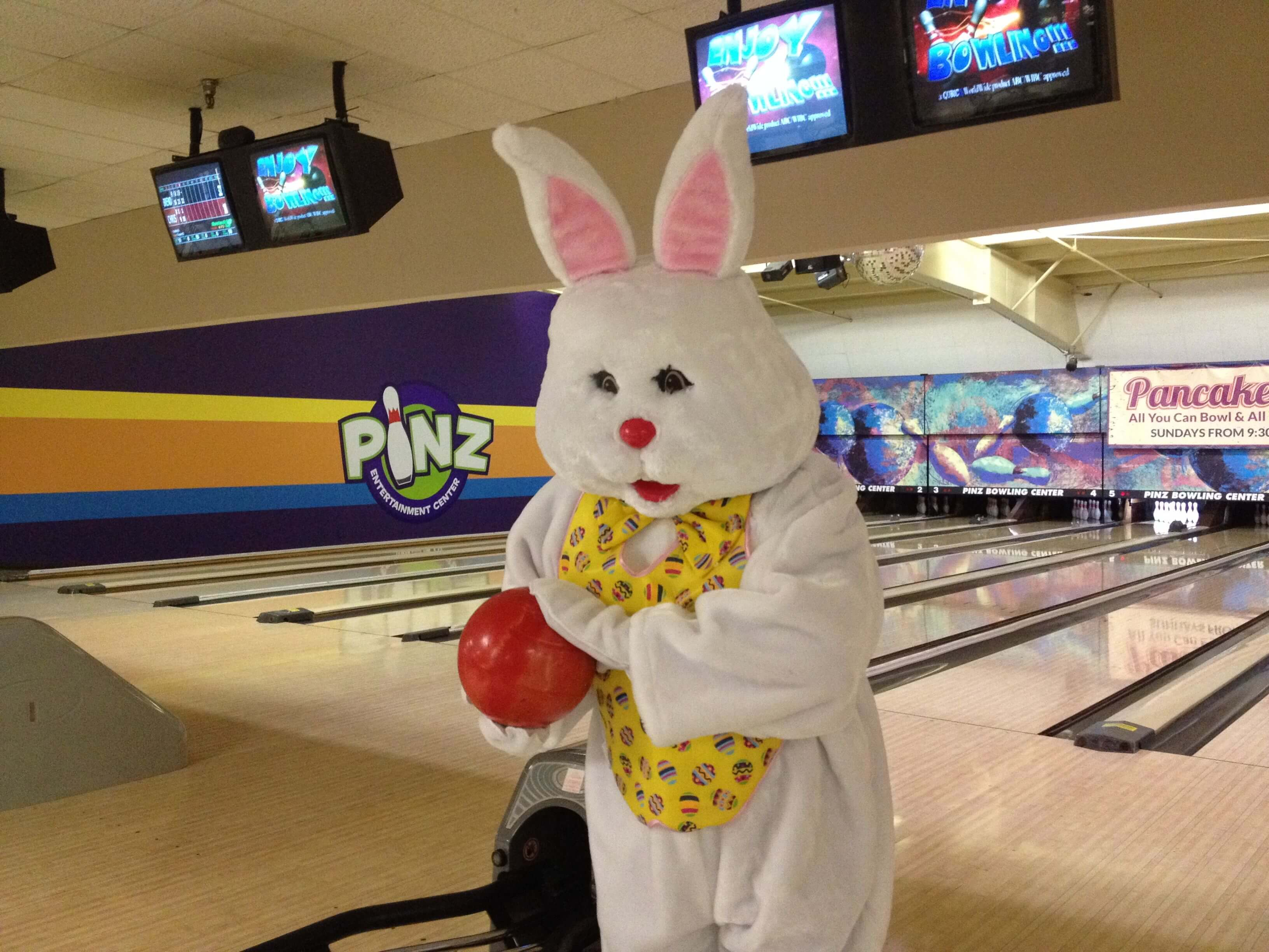 The Easter Bunny bowling